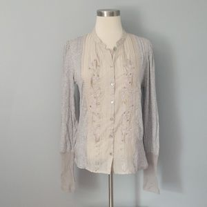 Grey embroidered sheer panel top